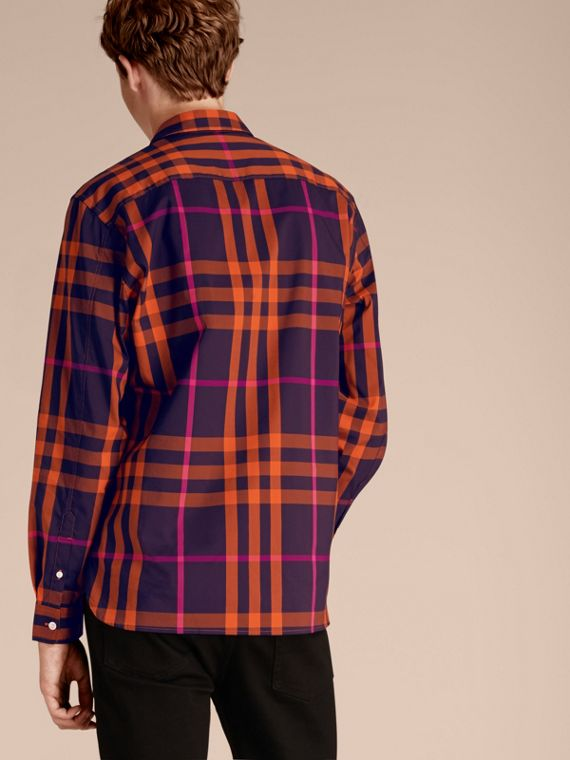 Check Stretch Cotton Shirt Clementine - cell image 2