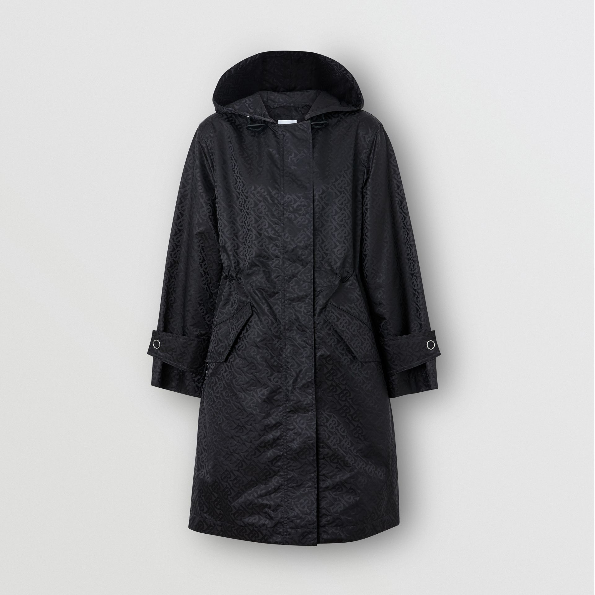 Monogram ECONYL® Jacquard Hooded Parka in Black - Women | Burberry Canada - gallery image 3