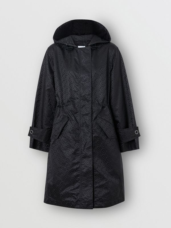 Monogram ECONYL® Jacquard Hooded Parka in Black - Women | Burberry - cell image 3