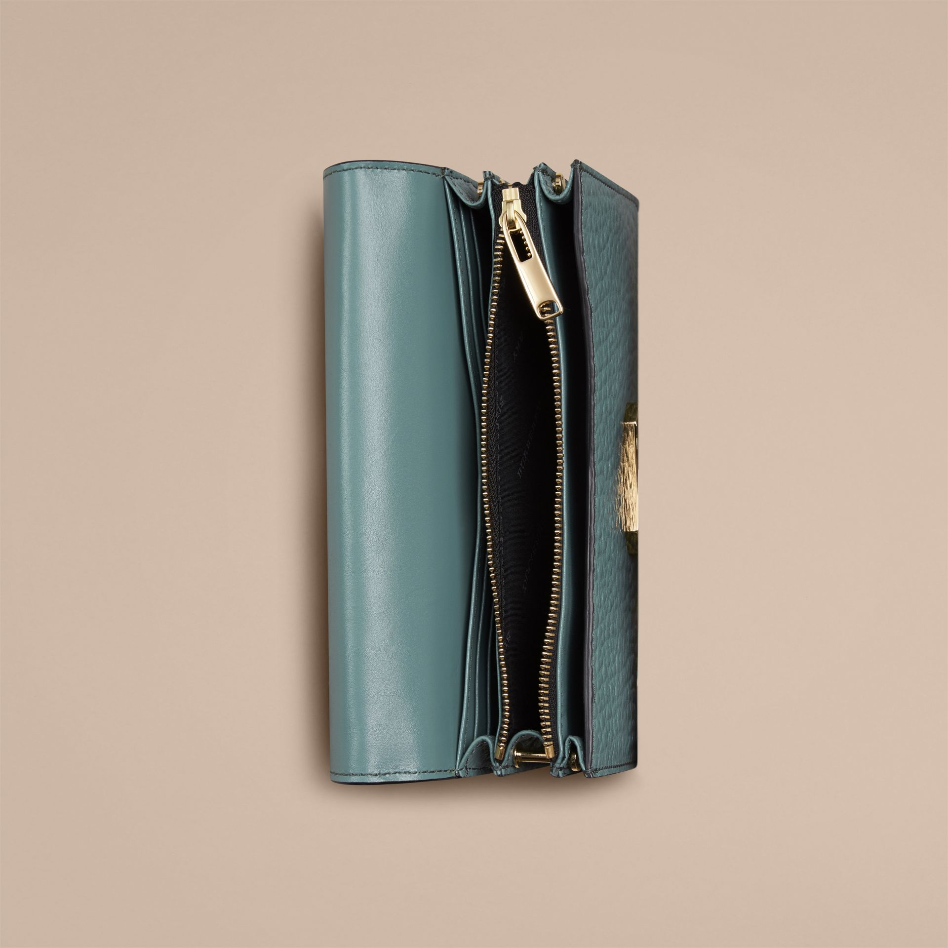 Celadon blue Signature Grain Leather Clutch Bag with Chain - gallery image 3