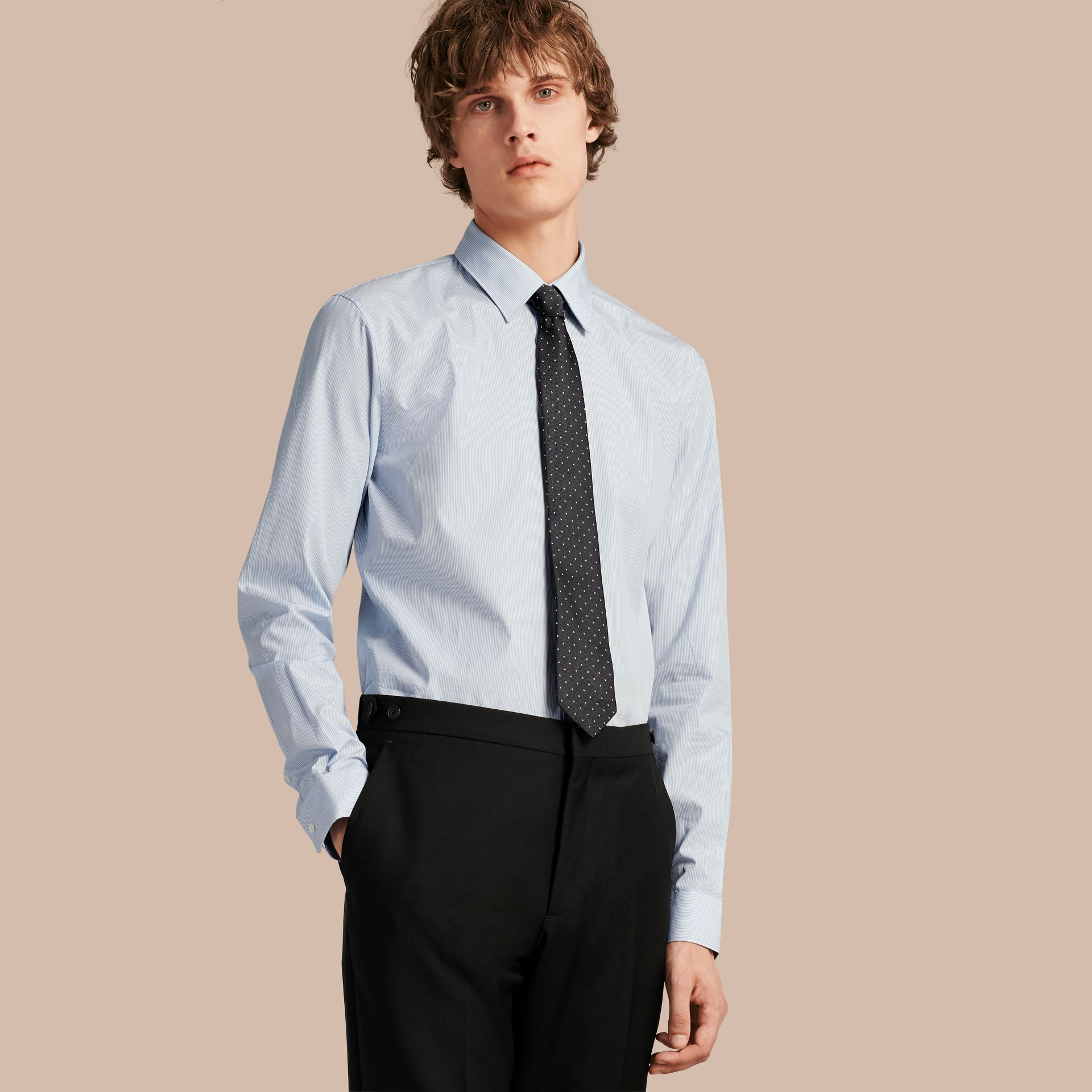 Slim Fit Striped Cotton Poplin Shirt - Men | Burberry - gallery image 1