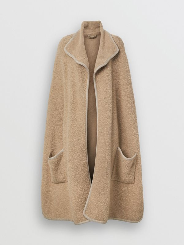 Wool Fleece Cape in Sand - Women | Burberry - cell image 3