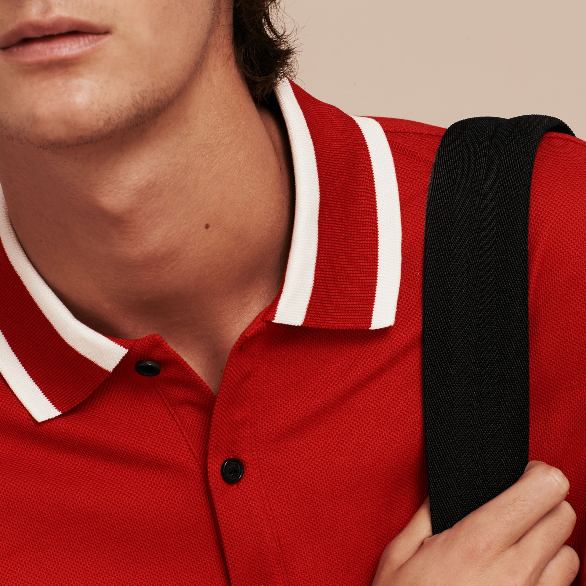 Striped Collar Cotton Piqué Polo Shirt Uniform Red - gallery image 5