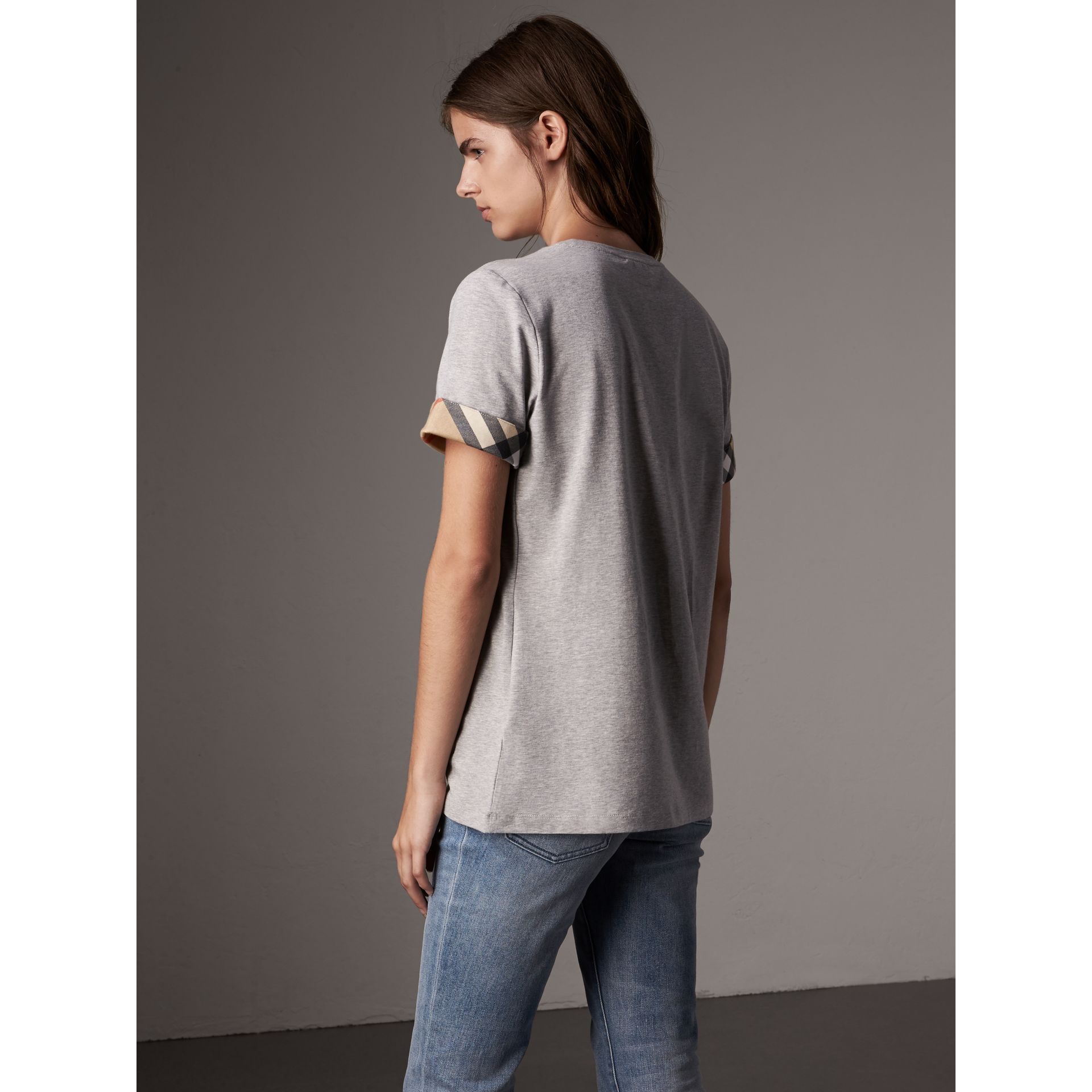Check Cuff Stretch Cotton T-Shirt in Pale Grey Melange - Women | Burberry - gallery image 3