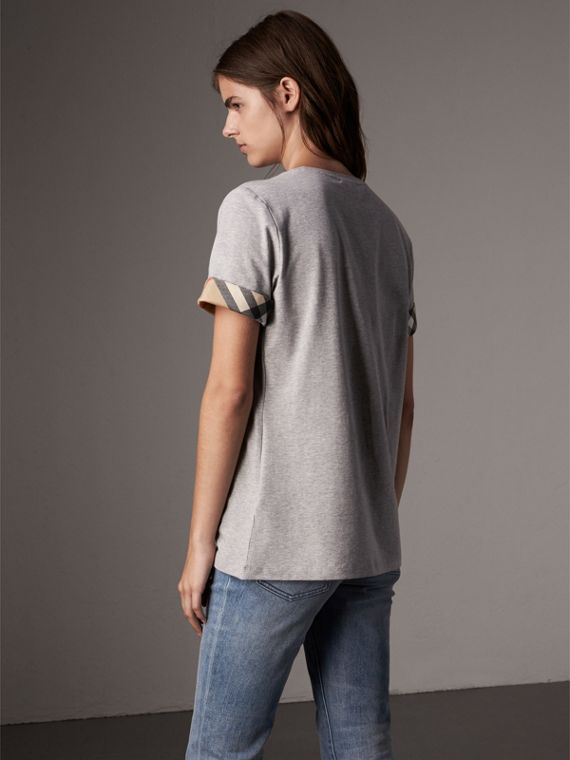 Check Cuff Stretch Cotton T-Shirt in Pale Grey Melange - Women | Burberry - cell image 2