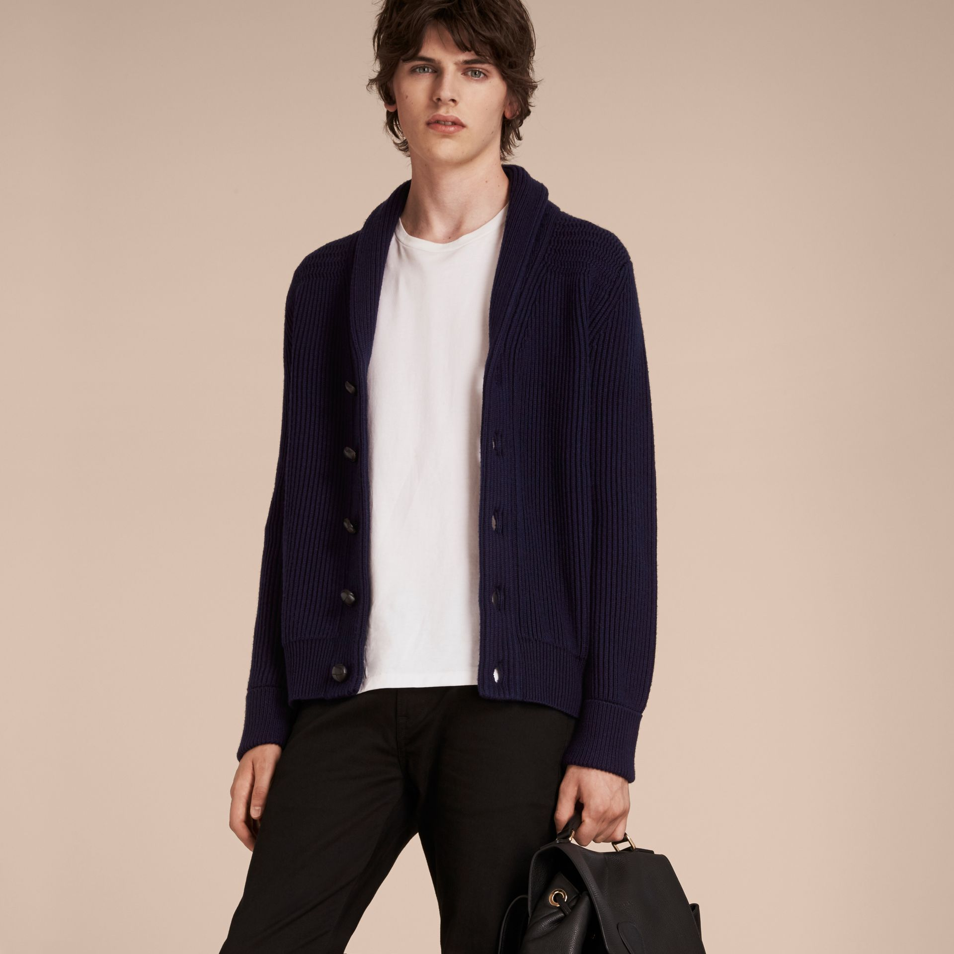 Navy Shawl Collar Ribbed Wool Silk Cardigan - gallery image 6
