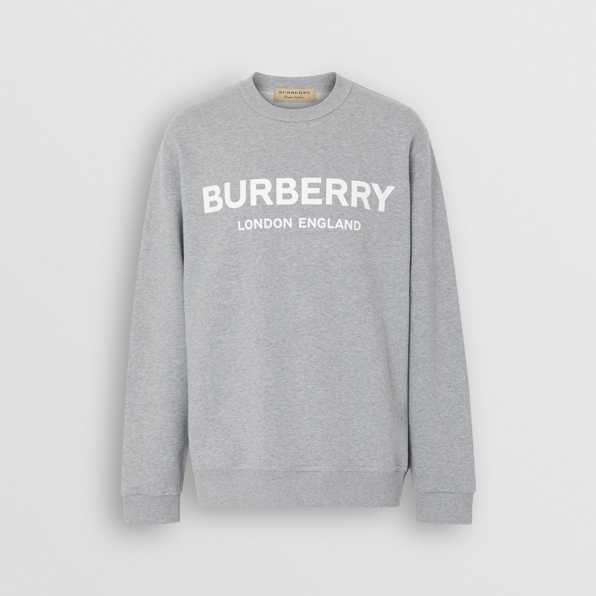 Logo Print Cotton Sweatshirt in Pale Grey Melange - Men | Burberry Singapore - gallery image 3