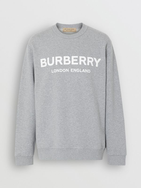 Logo Print Cotton Sweatshirt in Pale Grey Melange - Men | Burberry Singapore - cell image 3