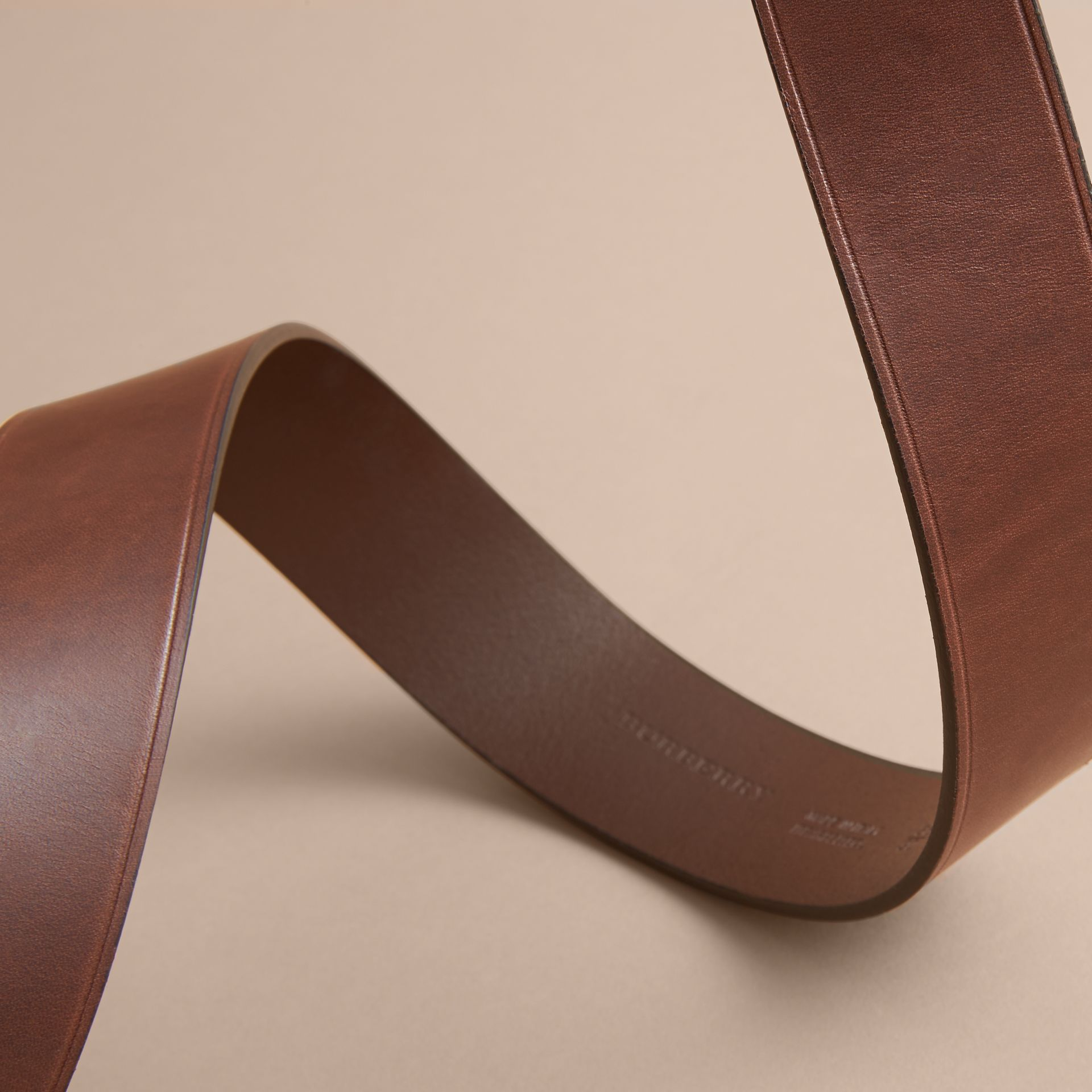 Brass Buckle Leather Belt in Auburn - Men | Burberry - gallery image 3