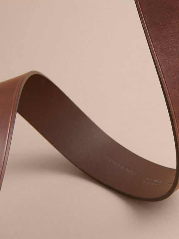 Brass Buckle Leather Belt in Auburn - Men | Burberry Australia - cell image 3