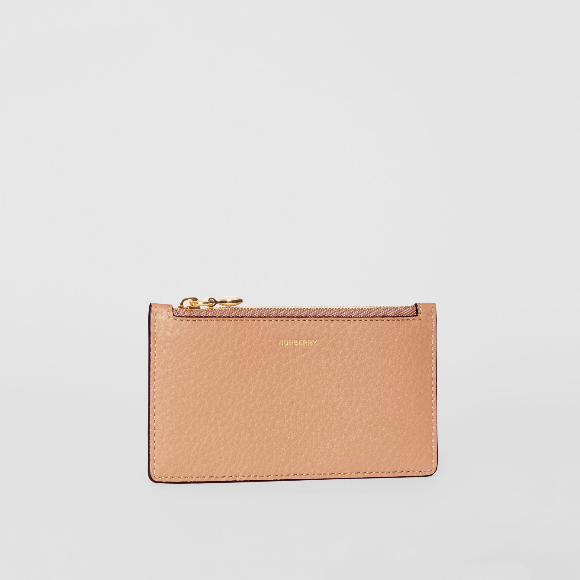 Leather Zip Card Case in Light Camel | Burberry - gallery image 3