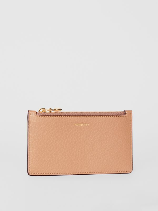 Leather Zip Card Case in Light Camel | Burberry - cell image 3