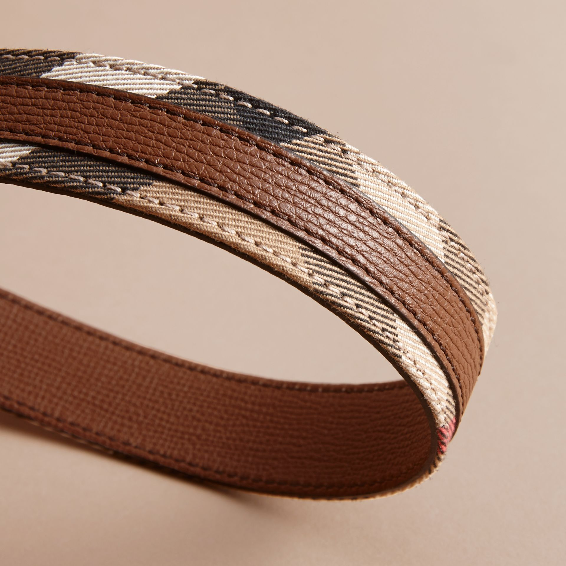 House Check and Grainy Leather Belt in Camel/tan - Women | Burberry - gallery image 3