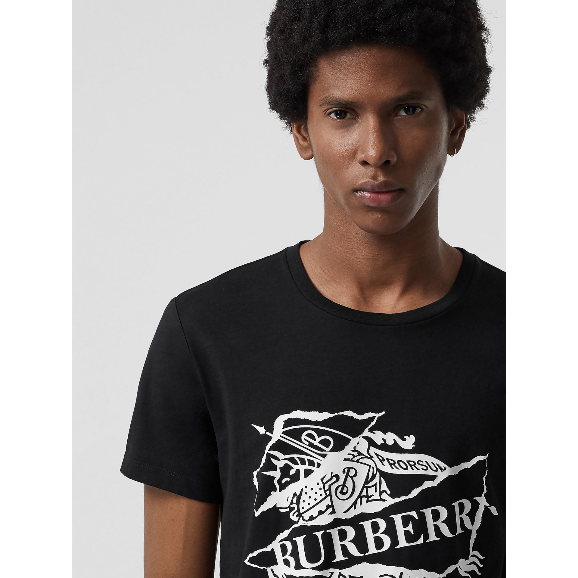 Collage Logo Print Cotton T-shirt in Black - Men | Burberry - gallery image 1