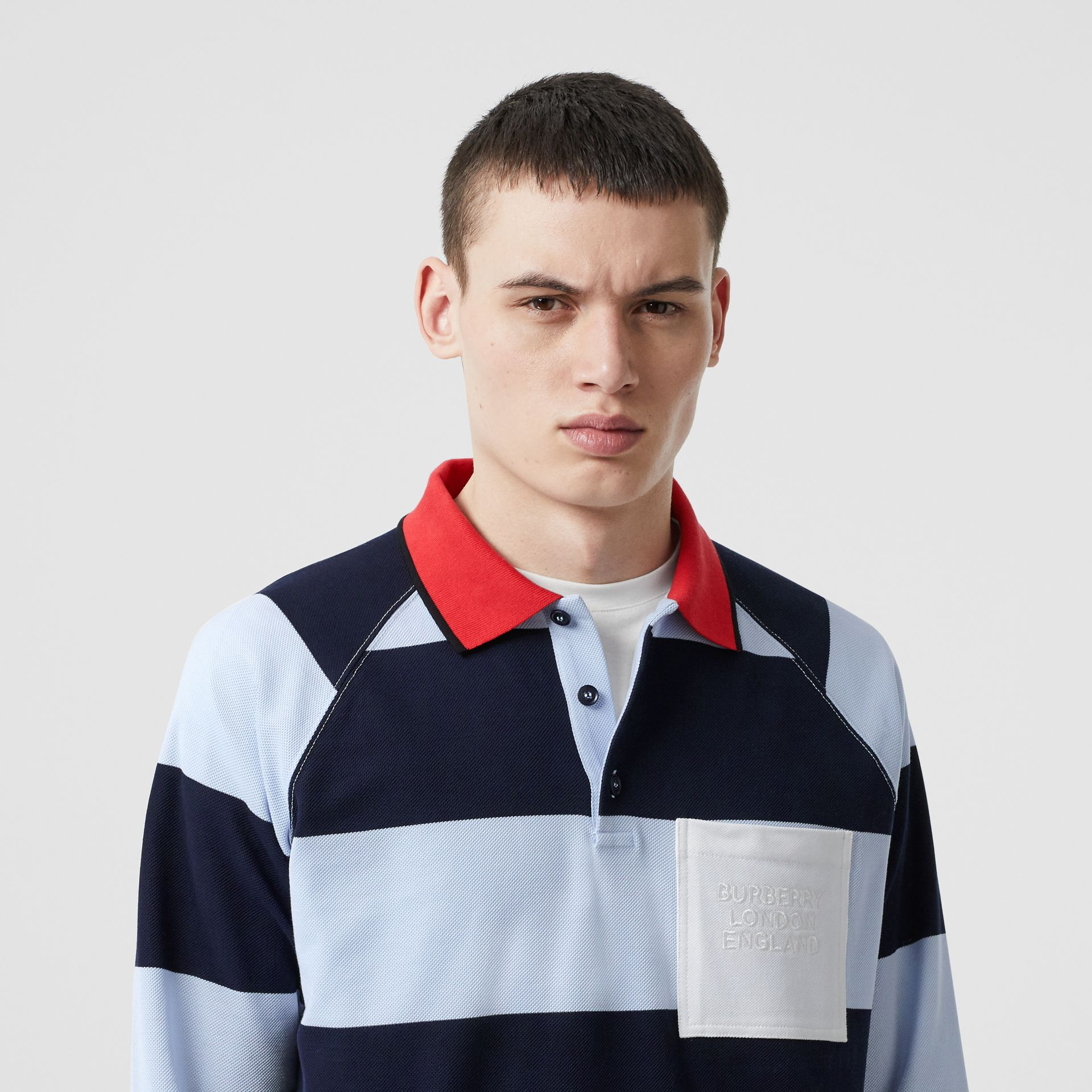 Long-sleeve Striped Cotton Piqué Oversized Polo Shirt in Pale Blue/navy - Men | Burberry Hong Kong S.A.R - gallery image 1
