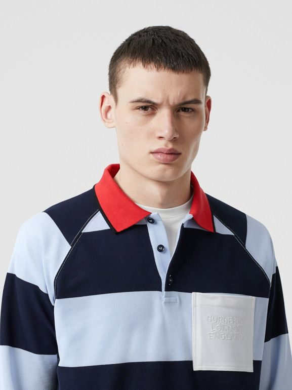 Long-sleeve Striped Cotton Piqué Oversized Polo Shirt in Pale Blue/navy - Men | Burberry Singapore - cell image 1