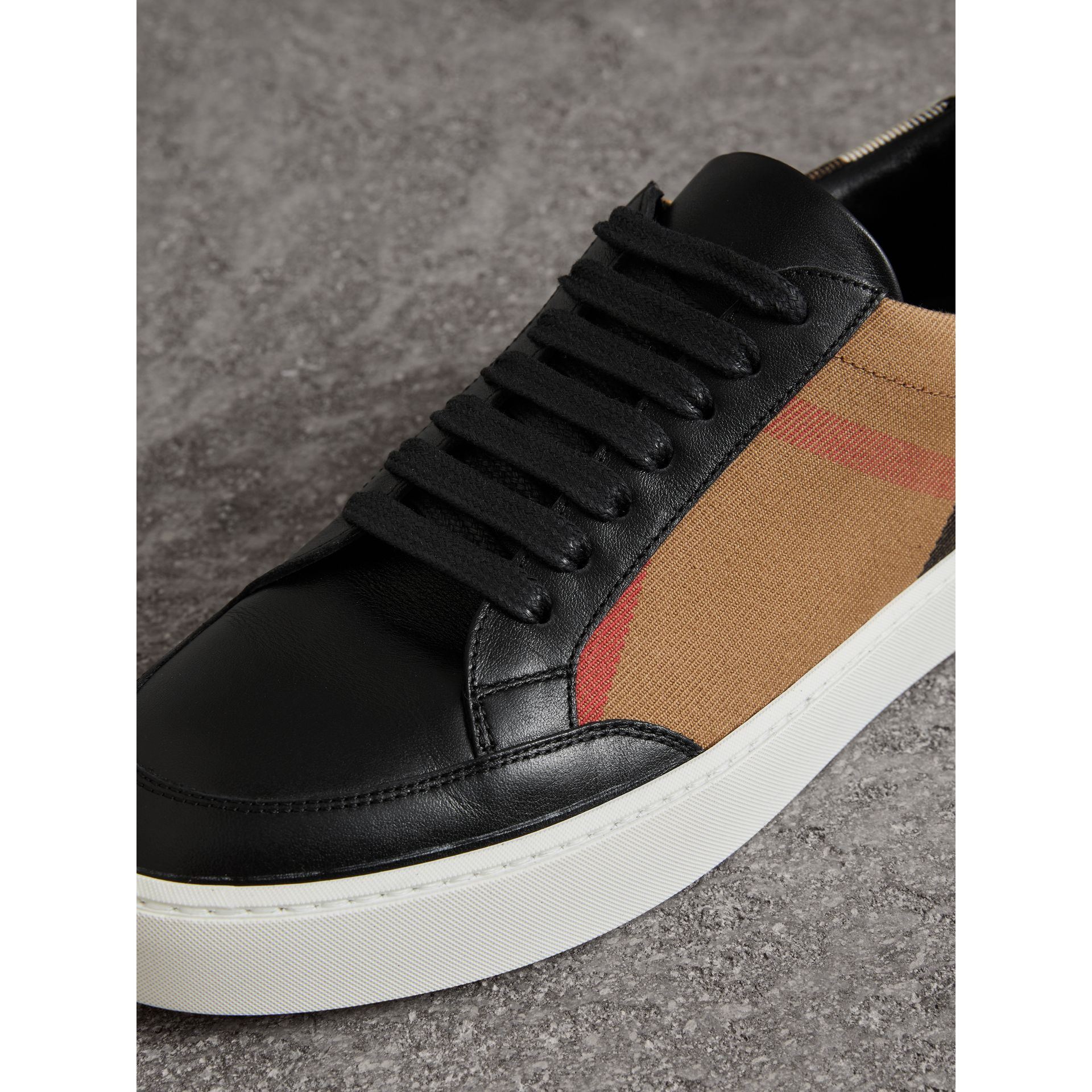 Check Detail Leather Sneakers in House Check/black - Women | Burberry Hong Kong - gallery image 1