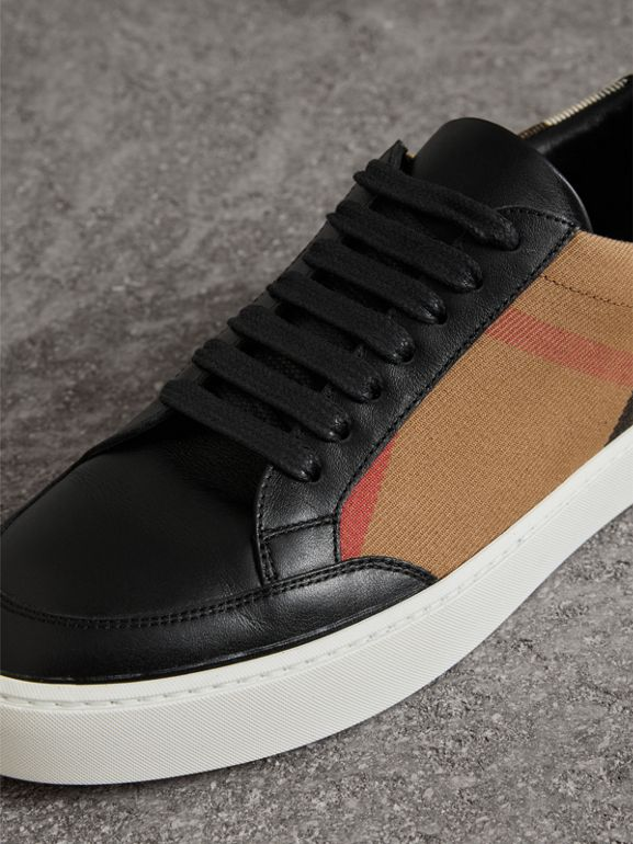 Check Detail Leather Sneakers in House Check/black - Women | Burberry - cell image 1