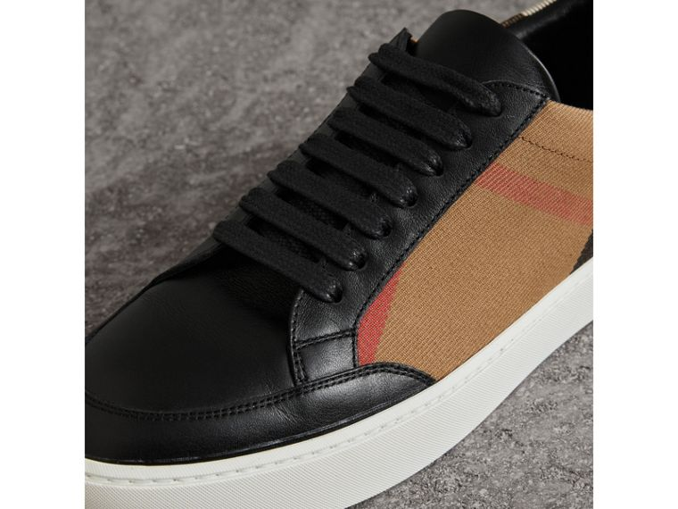 Check Detail Leather Trainers in House Check/black - Women | Burberry - cell image 1