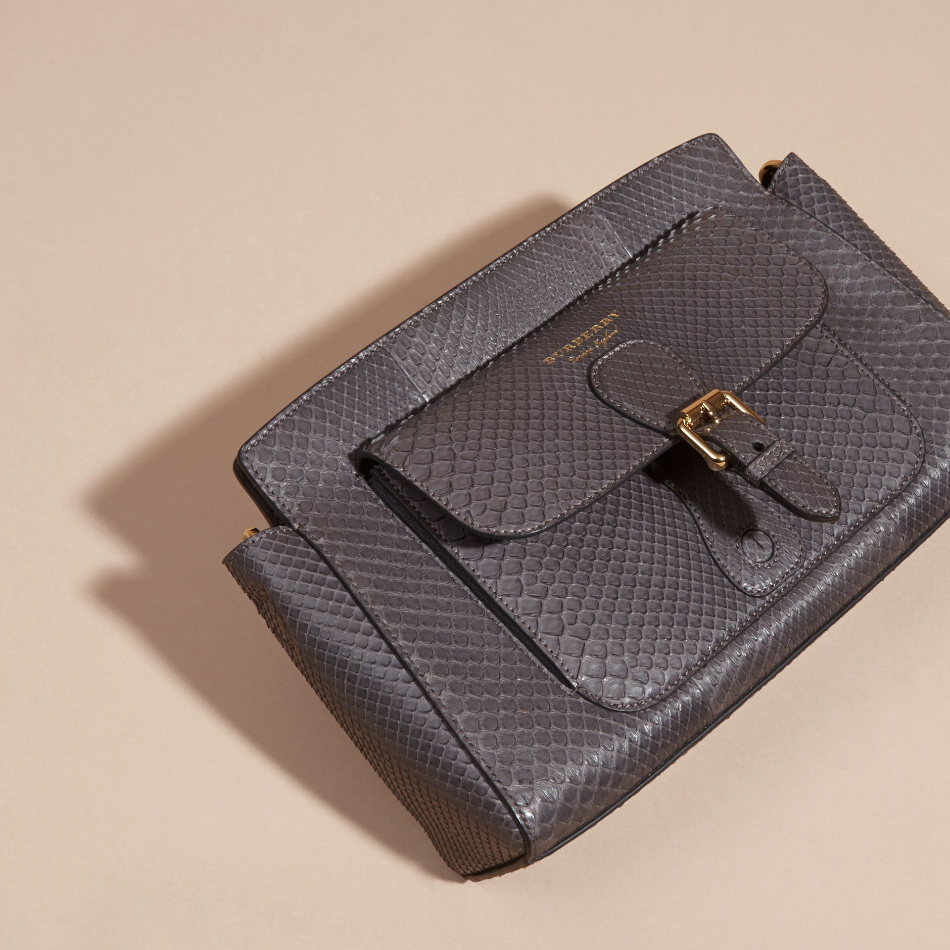 Gris sépia Clutch The Saddle en python - photo de la galerie 8