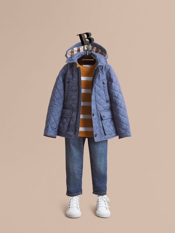 Detachable Hood Lightweight Quilted Jacket in Mineral Blue