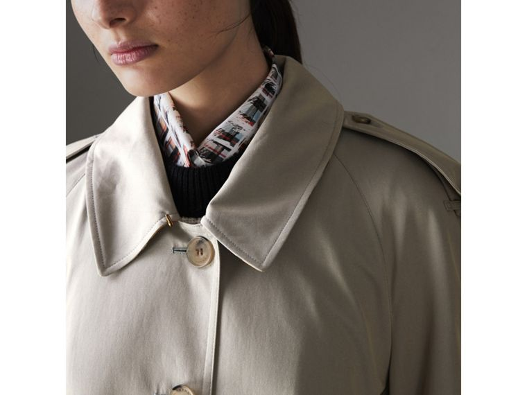 Side-slit Tropical Gabardine Trench Coat in Green Grey - Women | Burberry - cell image 4