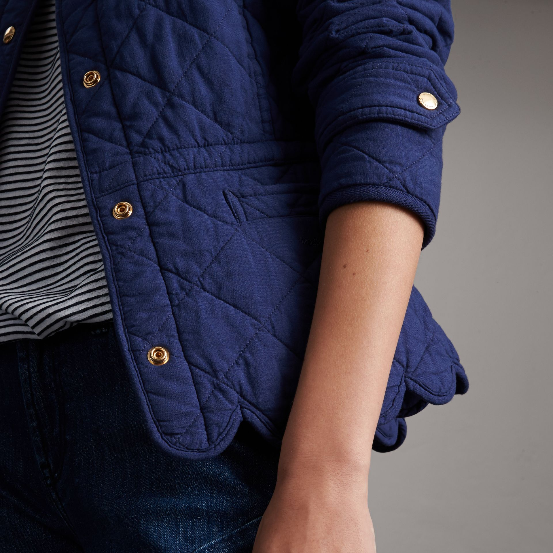 Scalloped Diamond Quilted Cotton Jacket in Indigo - Women | Burberry - gallery image 5