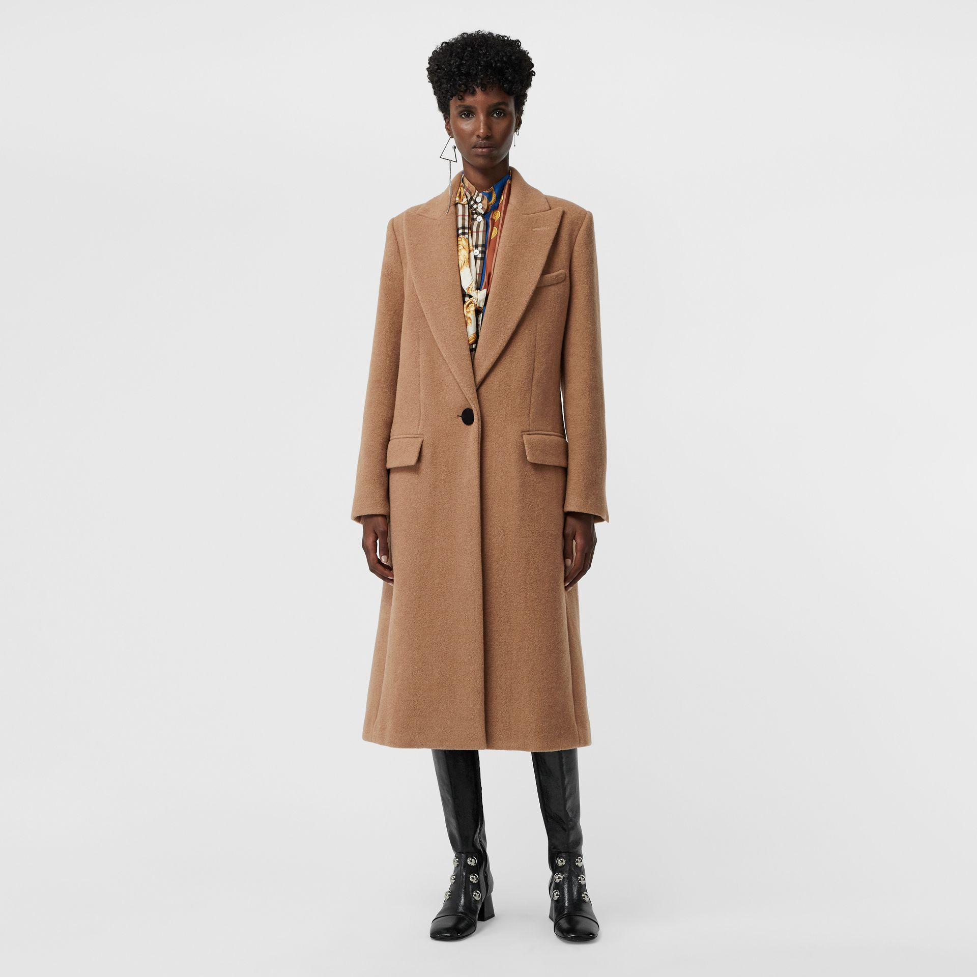 Oversized Lapel Camel Hair Tailored Coat - Women | Burberry United Kingdom - gallery image 5