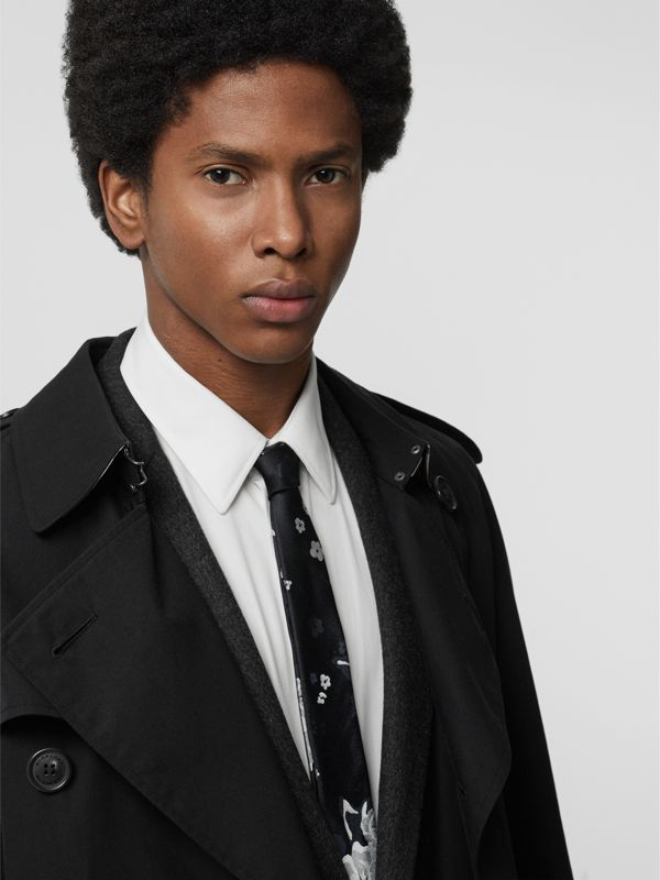 Slim Cut Floral Silk Tie in Black - Men | Burberry Hong Kong - cell image 2