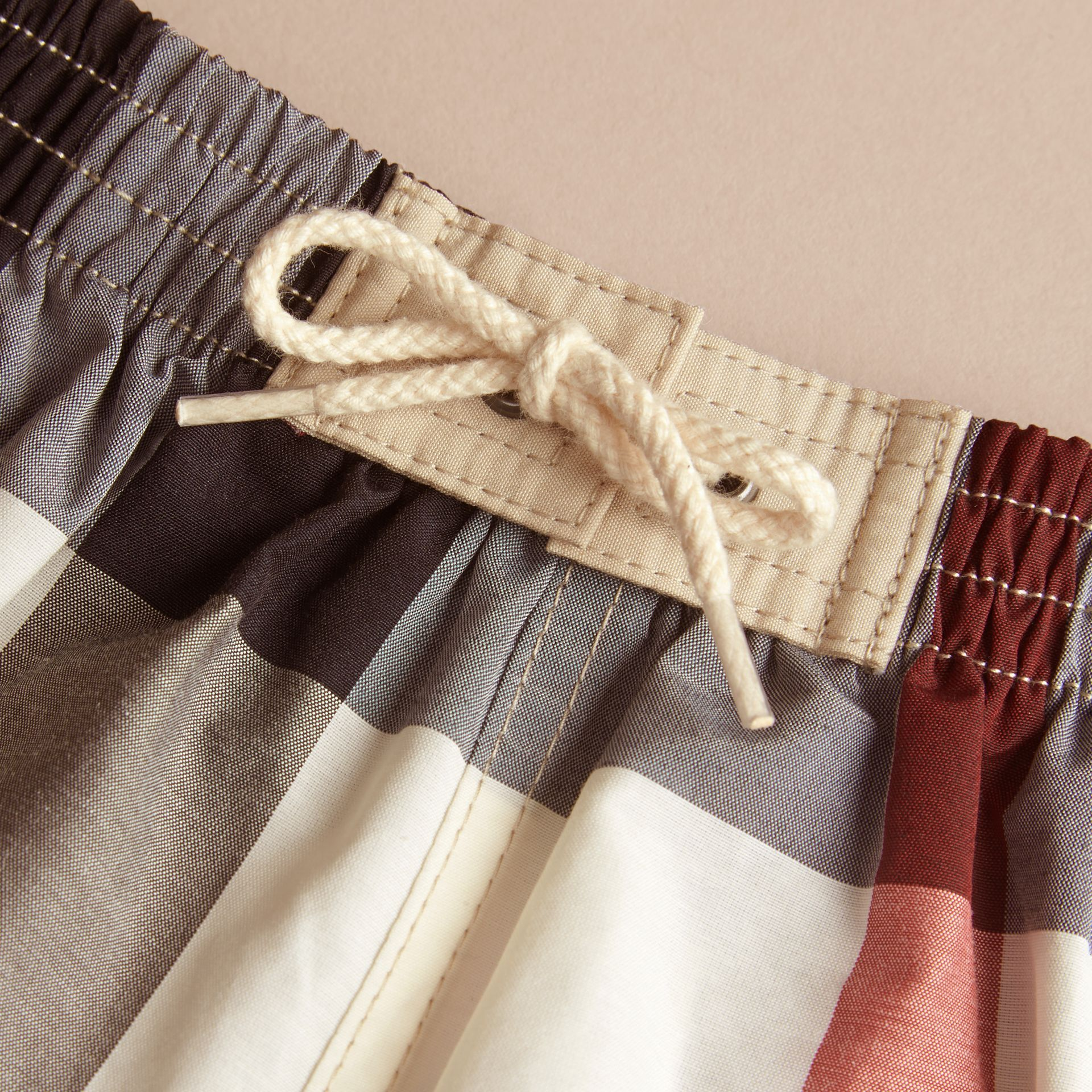 Check Technical Cotton Swim Shorts in New Classic | Burberry United Kingdom - gallery image 2