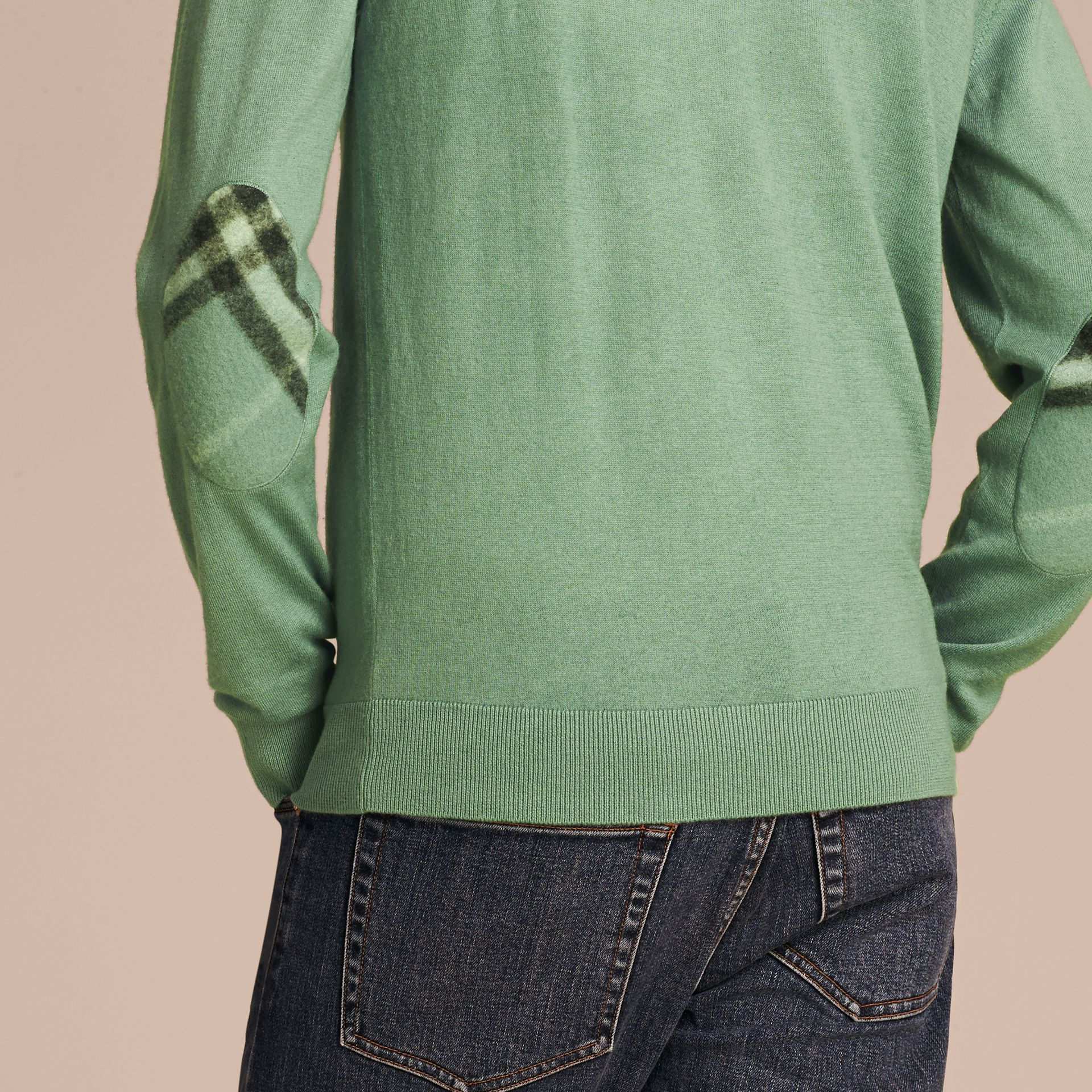 Eucalyptus green Check Trim Cashmere Cotton Sweater Eucalyptus Green - gallery image 5
