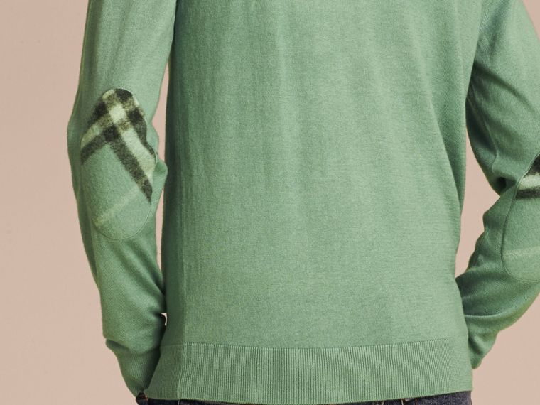 Eucalyptus green Check Trim Cashmere Cotton Sweater Eucalyptus Green - cell image 4