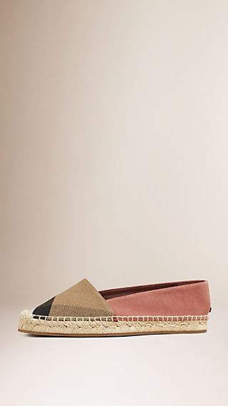 Check Jute Cotton and Suede Espadrilles