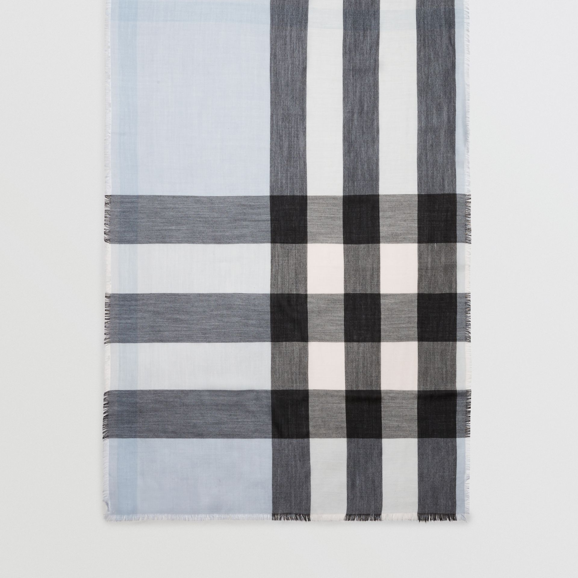Lightweight Check Cashmere Scarf in Dusty Blue | Burberry United Kingdom - gallery image 0