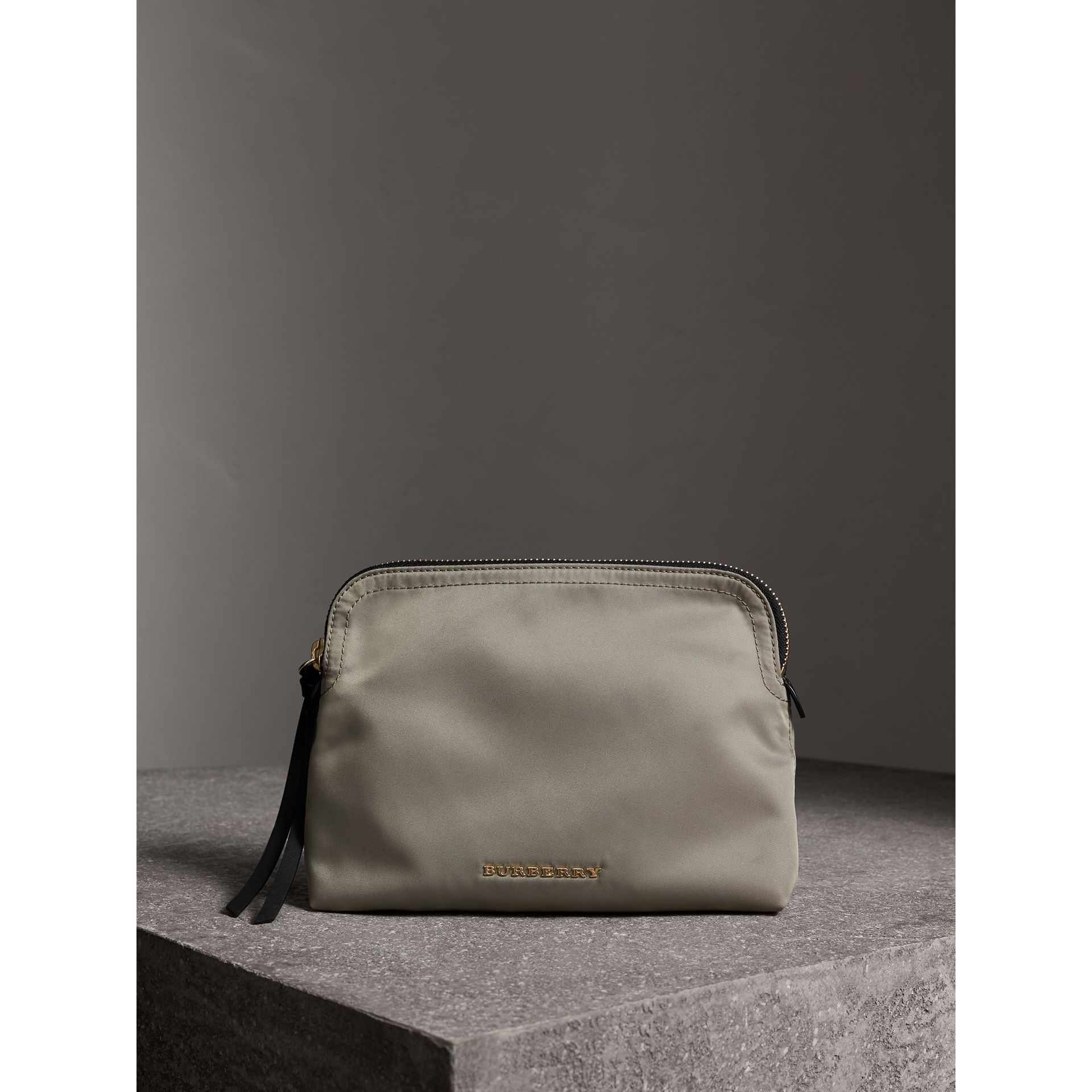 Large Zip-top Technical Nylon Pouch in Thistle Grey - Women | Burberry - gallery image 1