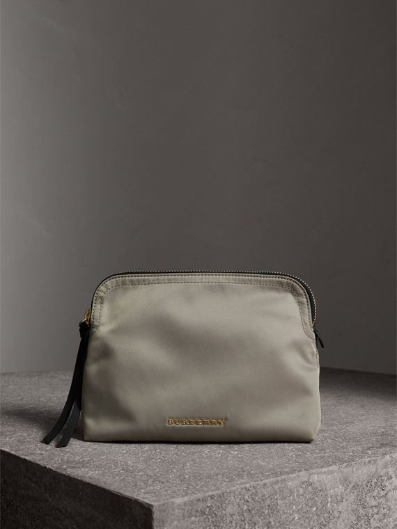 Large Zip-top Technical Nylon Pouch in Thistle Grey - Women | Burberry