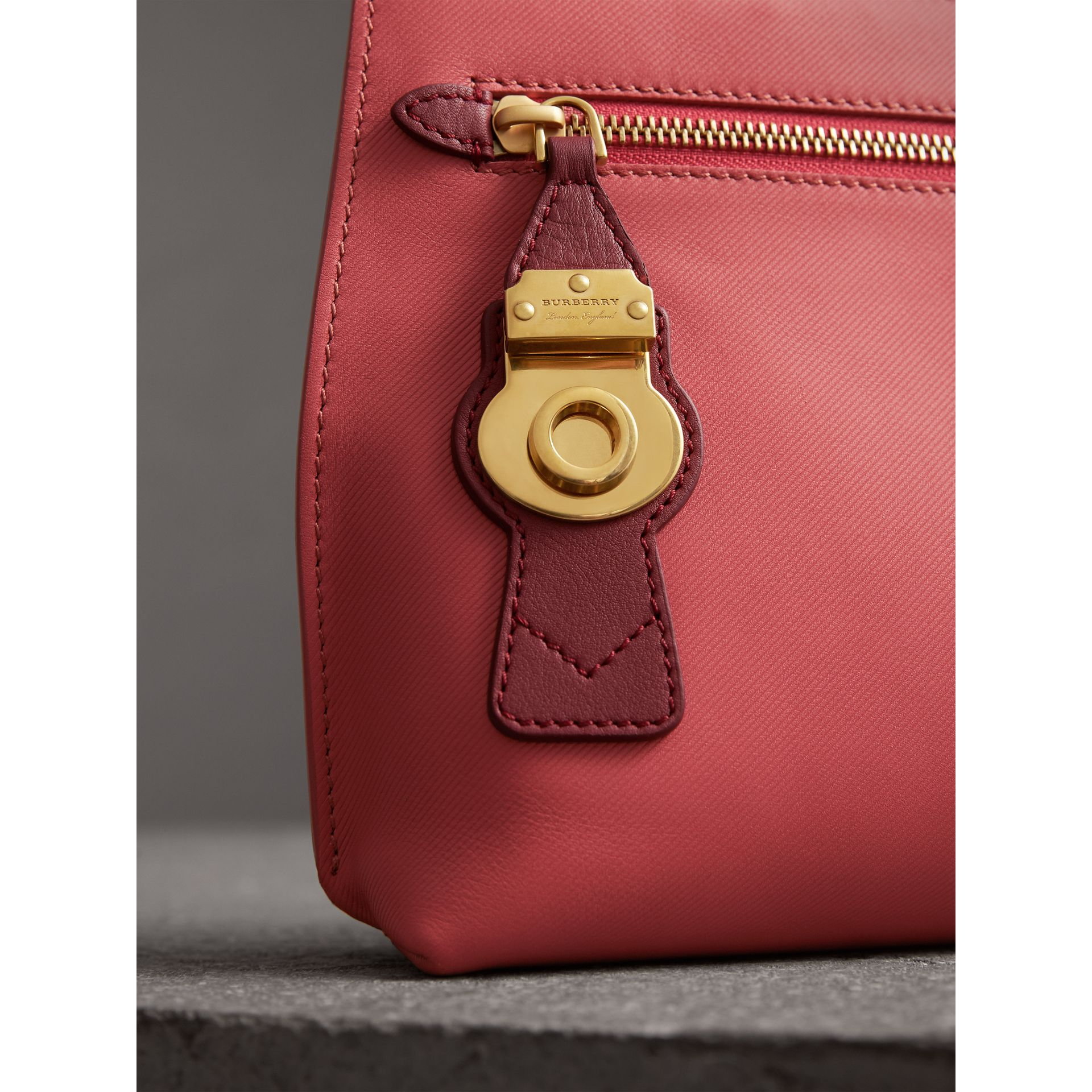 Two-tone Trench Leather Wristlet Pouch in Blossom Pink/antique Red - Women | Burberry United States - gallery image 1