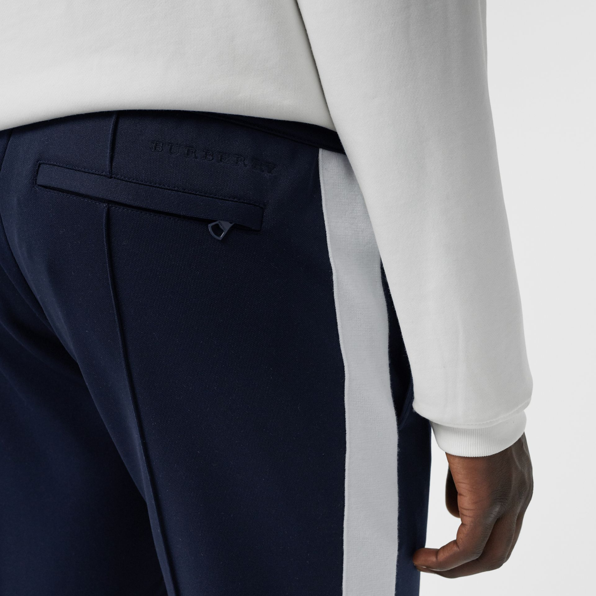 Sport Stripe Cotton Blend Drawcord Trousers in Navy - Men | Burberry United Kingdom - gallery image 1