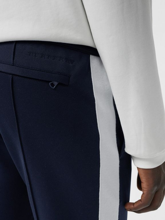 Sport Stripe Cotton Blend Drawcord Trousers in Navy - Men | Burberry Hong Kong - cell image 1