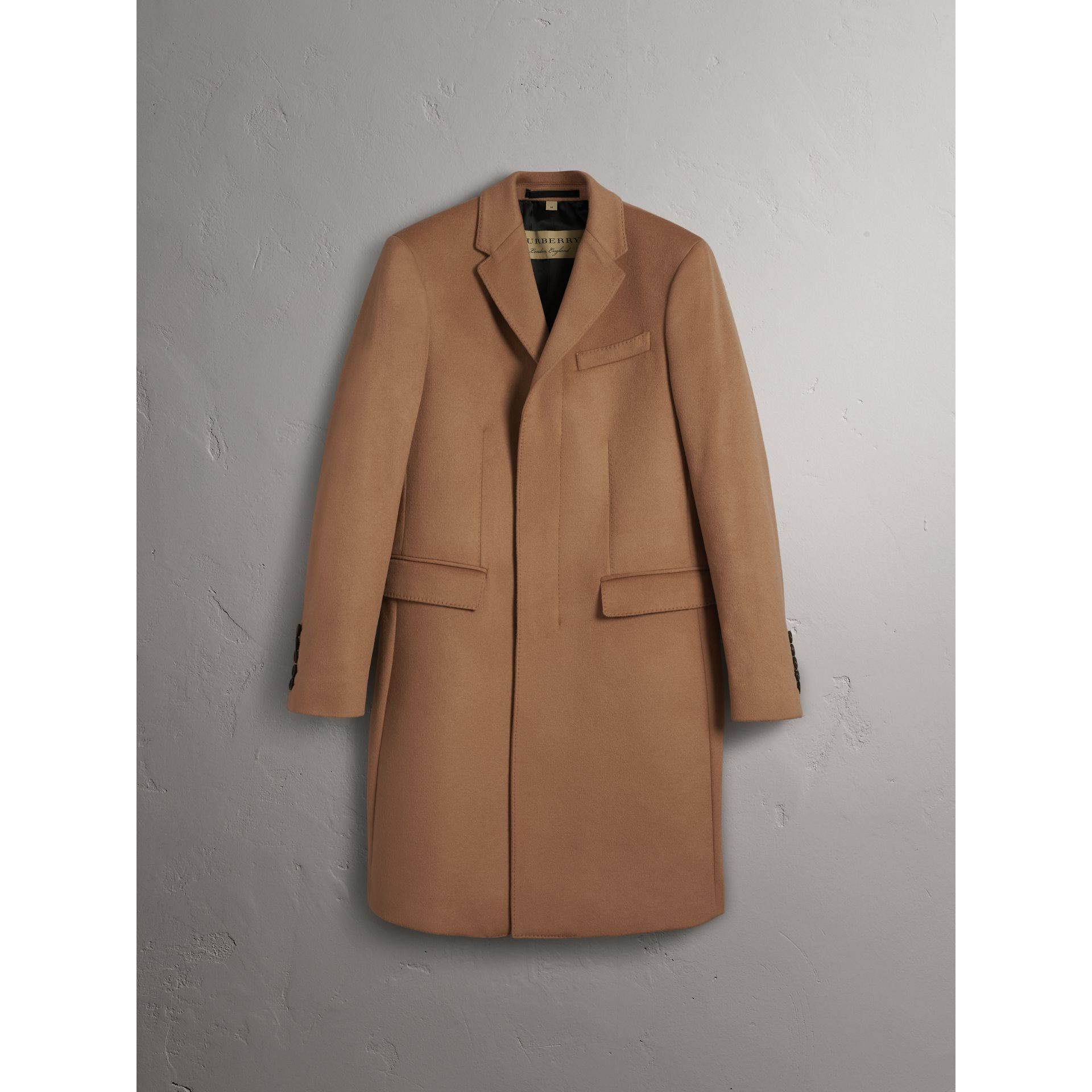 Wool Cashmere Tailored Coat in Camel - Men | Burberry Australia - gallery image 4