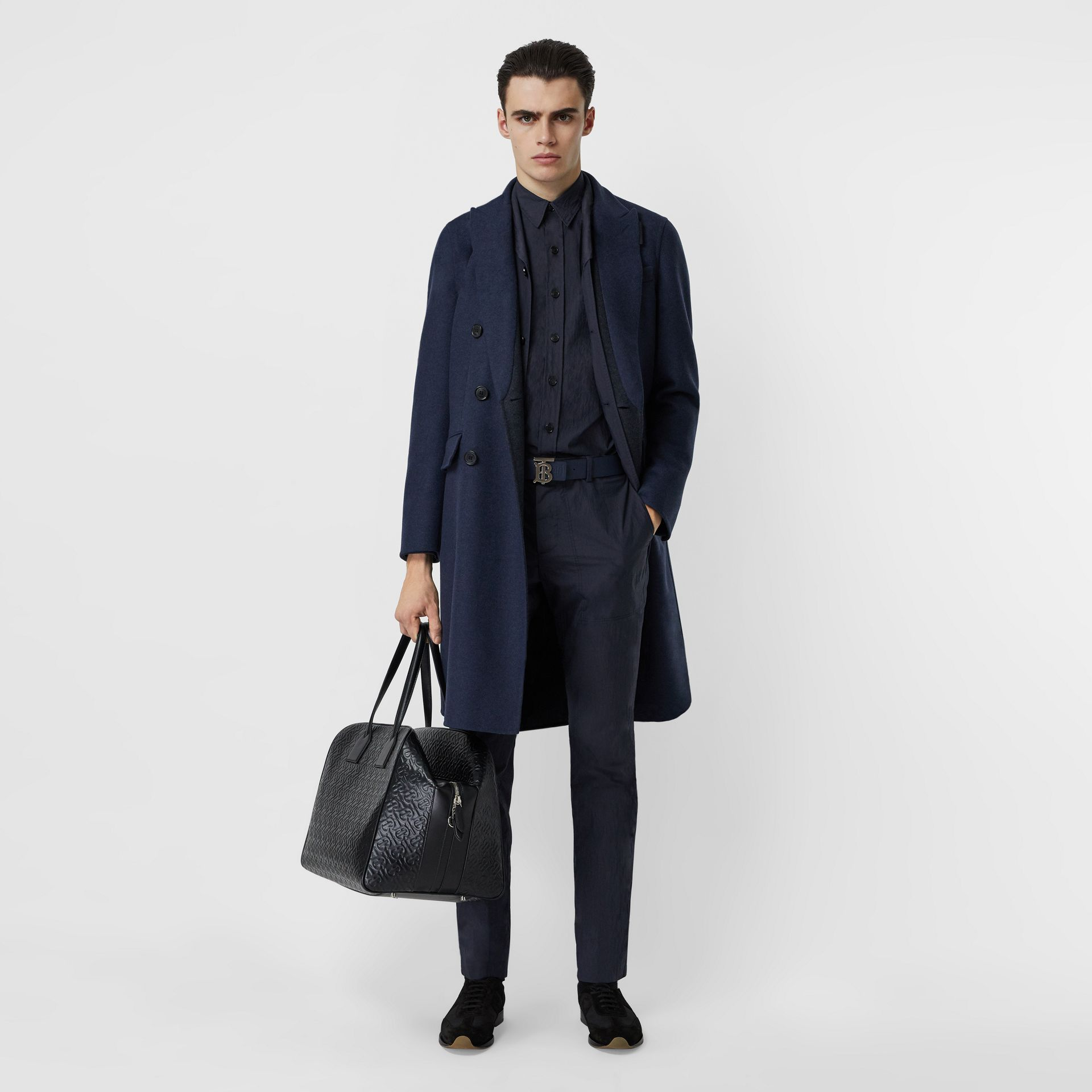 Double-faced Wool Cashmere Tailored Coat in Steel Blue Melange - Men | Burberry - gallery image 0