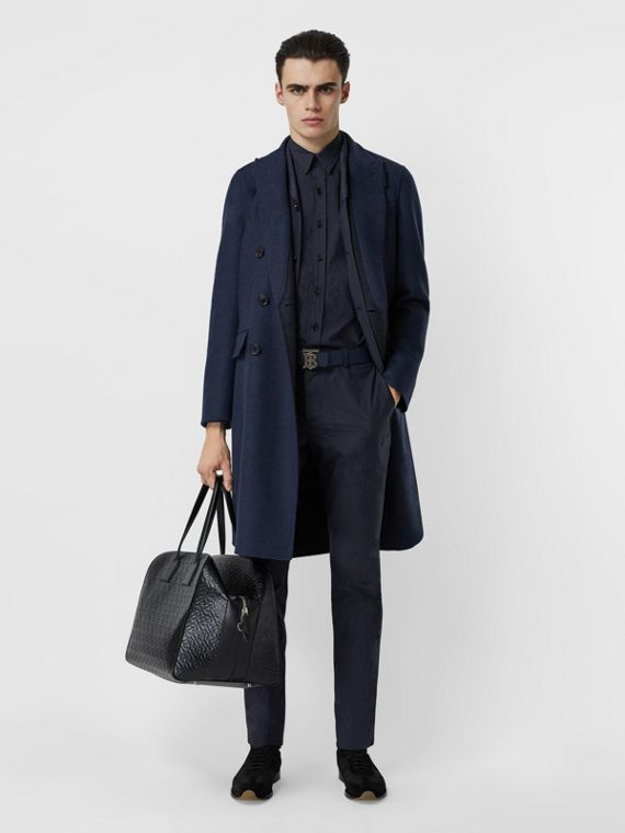 Double-faced Wool Cashmere Tailored Coat in Steel Blue Melange