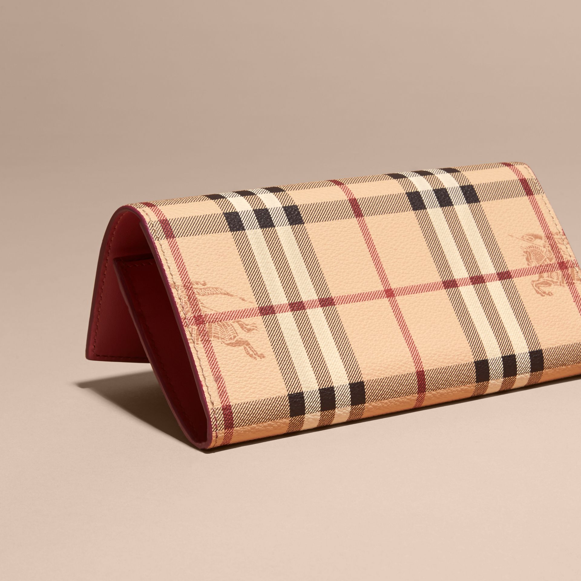 Haymarket Check and Leather Continental Wallet in Plum Pink - Women | Burberry - gallery image 4