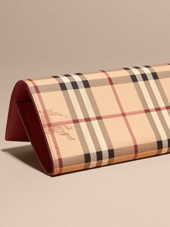 Haymarket Check and Leather Continental Wallet in Plum Pink - Women | Burberry - cell image 3