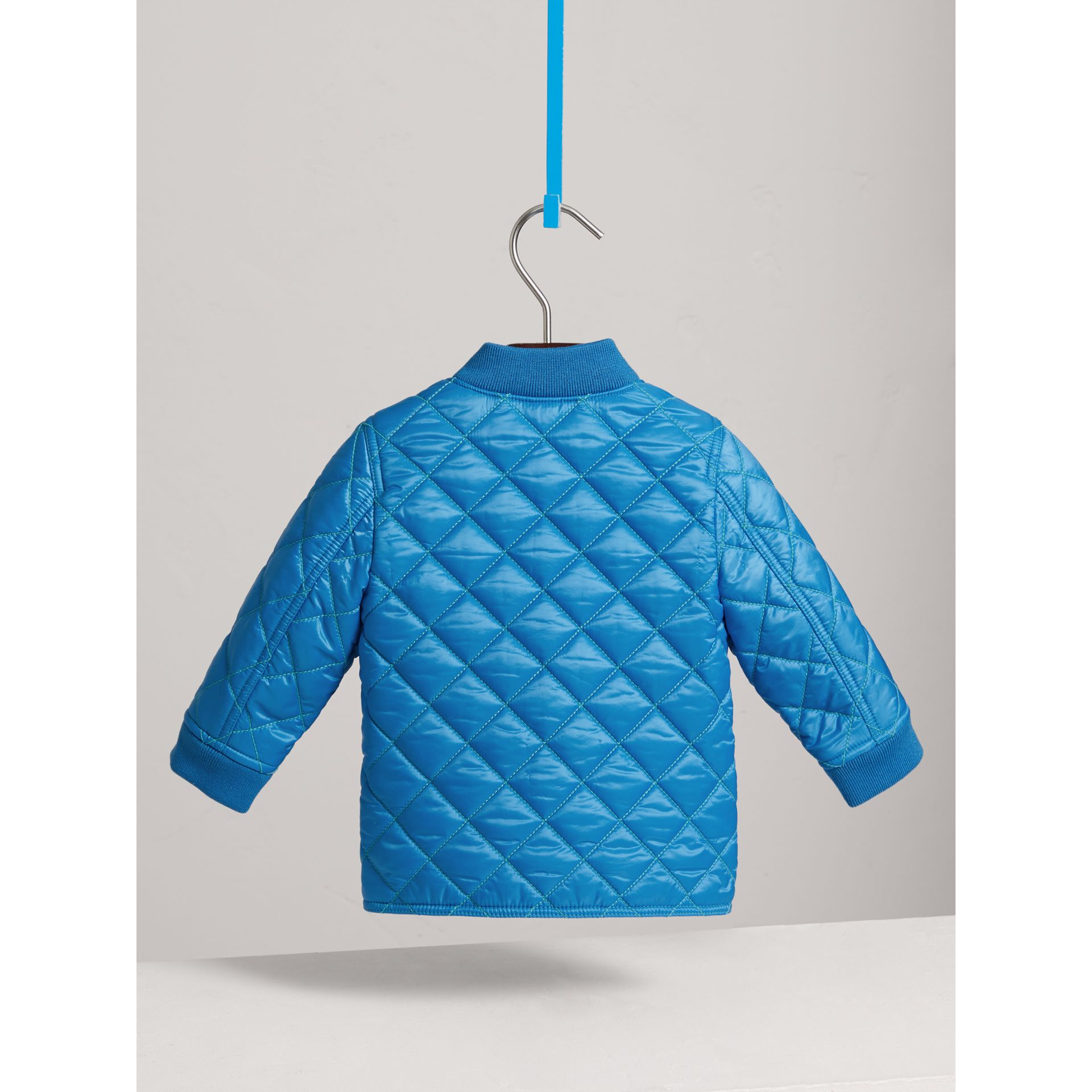 Topstitched Quilted Jacket in Cyan Blue | Burberry United Kingdom - gallery image 4