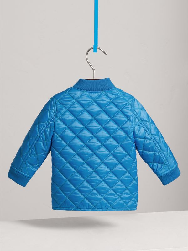 Topstitched Quilted Jacket in Cyan Blue | Burberry - cell image 3