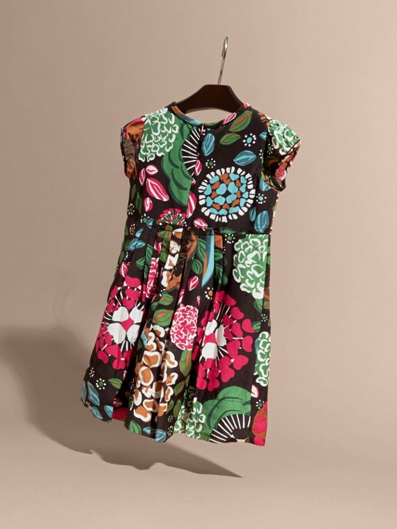 Sage green Floral Print Cotton Silk Dress - cell image 3