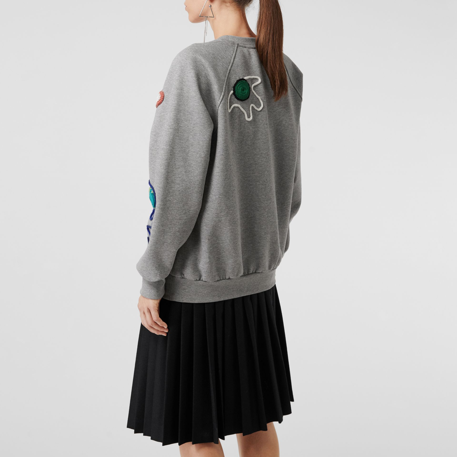 Embellished Jersey Sweatshirt in Pale Grey Melange - Women | Burberry Canada - gallery image 2