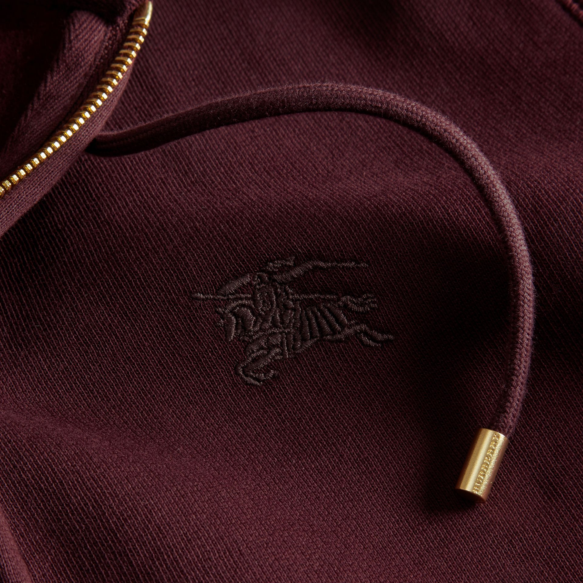 Deep claret Hooded Cotton Jersey Top - gallery image 2