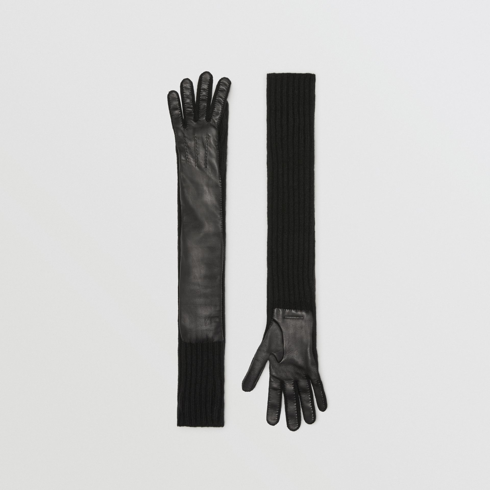 Cashmere and Lambskin Longline Gloves in Black - Women | Burberry Australia - gallery image 0